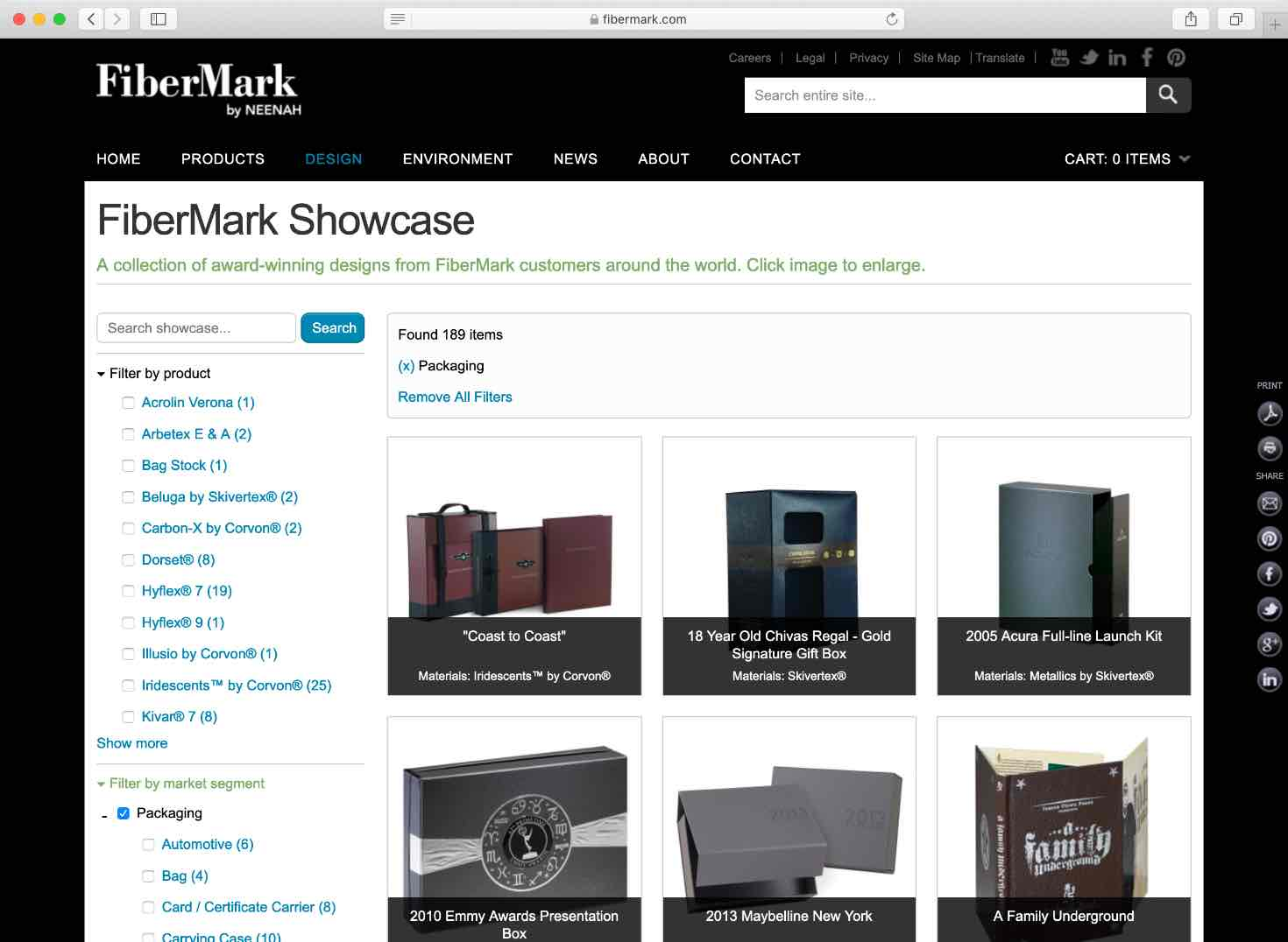 FiberMark Showcase filters page