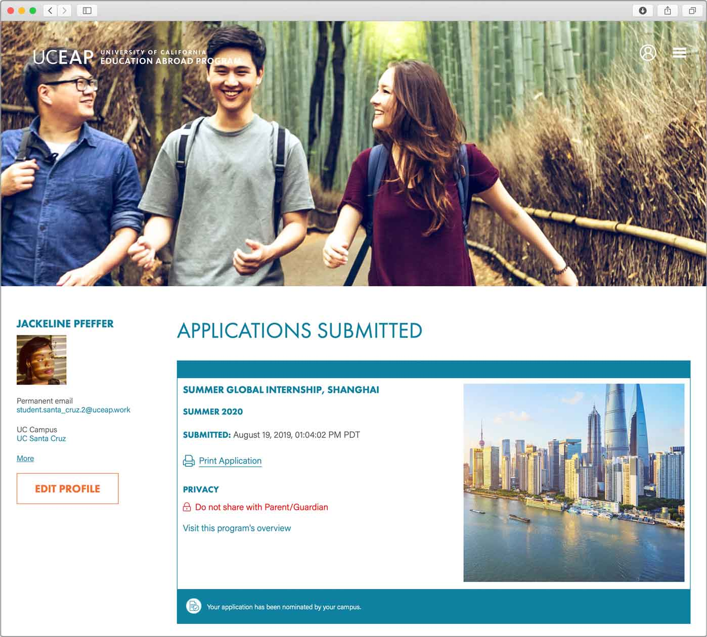 UCEAP Student Home Page