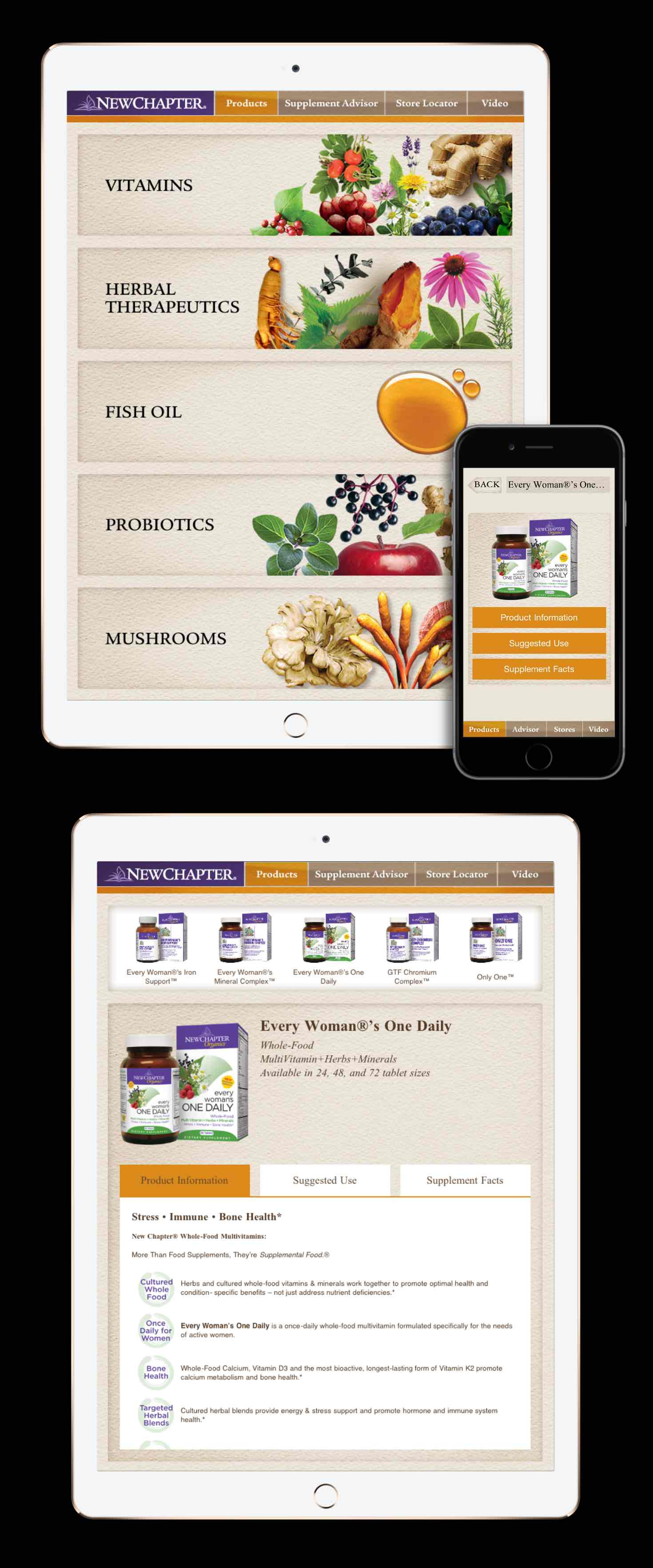 New Chapter app showing products and supplement facts