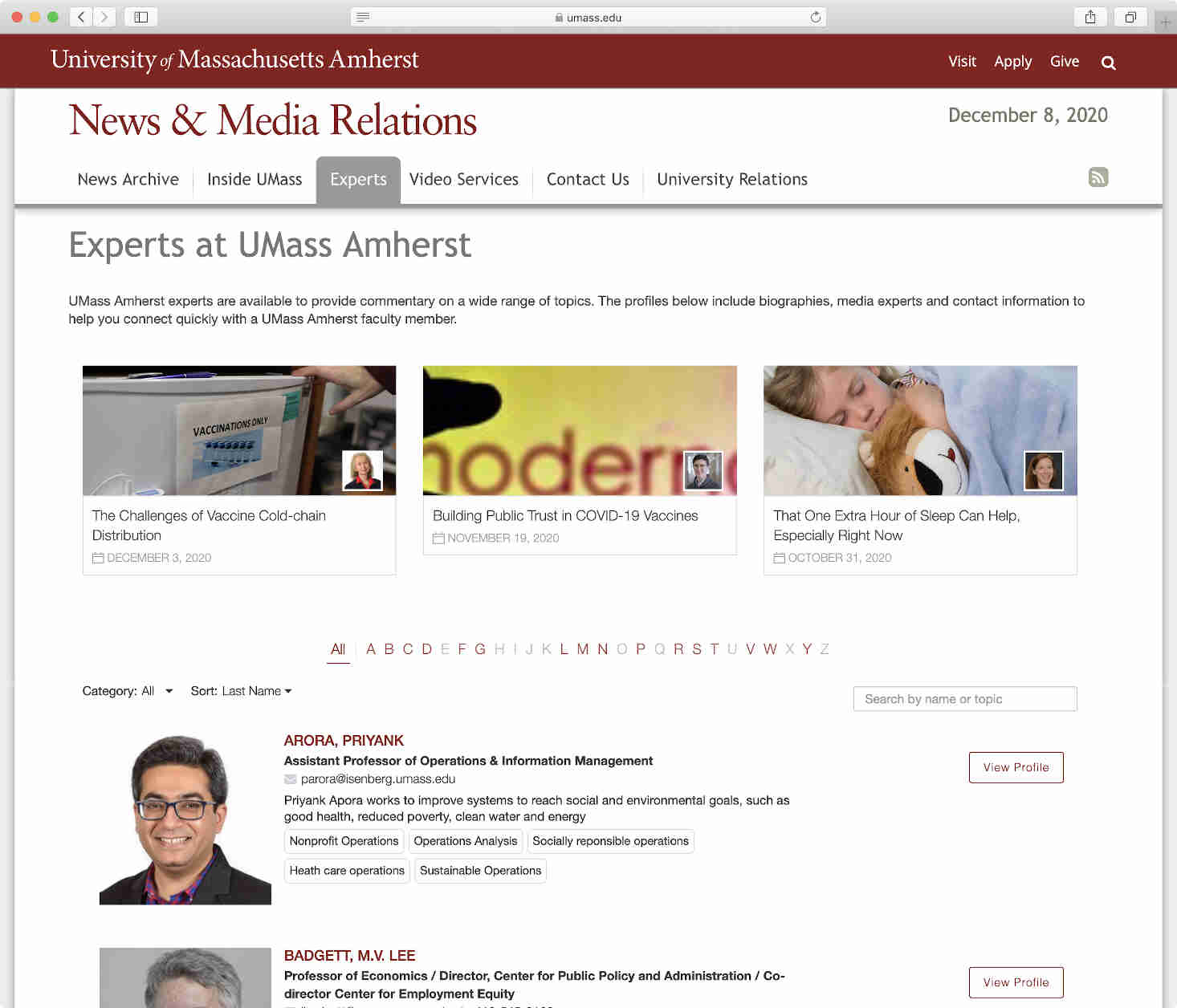 UMass website Experts page