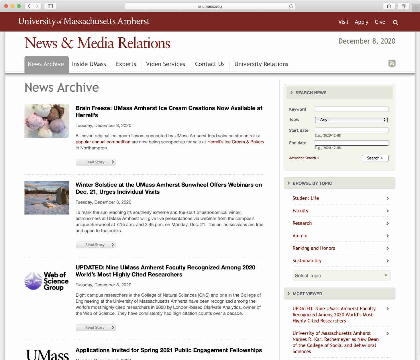 UMass News Archive search page